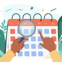 Hands with magnifier checking calendar. Magnifying glass, date, day flat vector illustration. Time and planning concept for banner, website design or landing web page